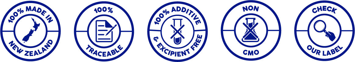 100% Made in New Zealand, 100% Traceable, New Zealand Owned and Operated, Additive and Excipient Free, Non GMO